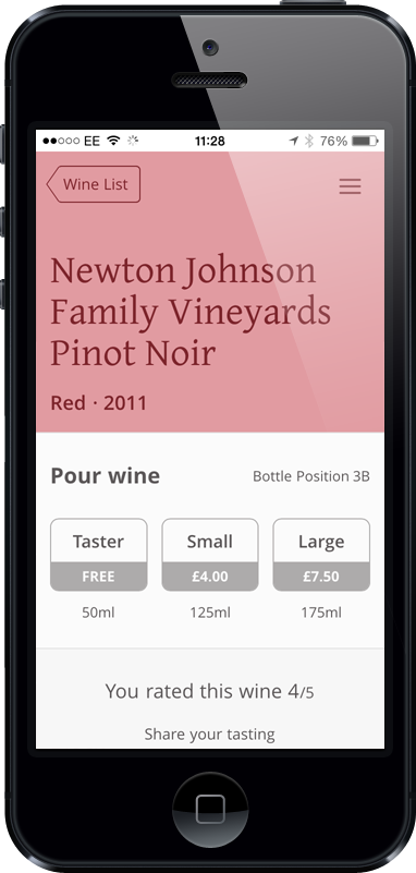 Wine dispensing app